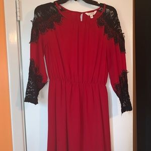 Red and black dress.